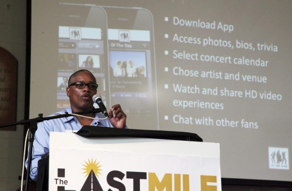 Eddie Griffin, an inmate at San Quentin State Prison, presents his startup idea. Photo by Reuters