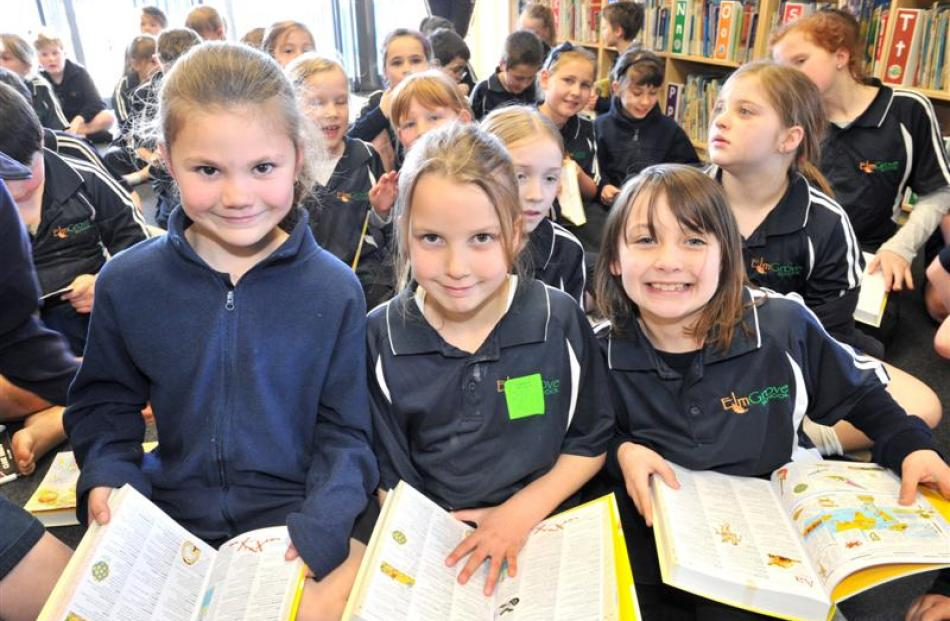 Elmgrove School year 4 pupils (from left) Maddison McGrath (9), Tegan Hunter (8) and Rylee McCabe...