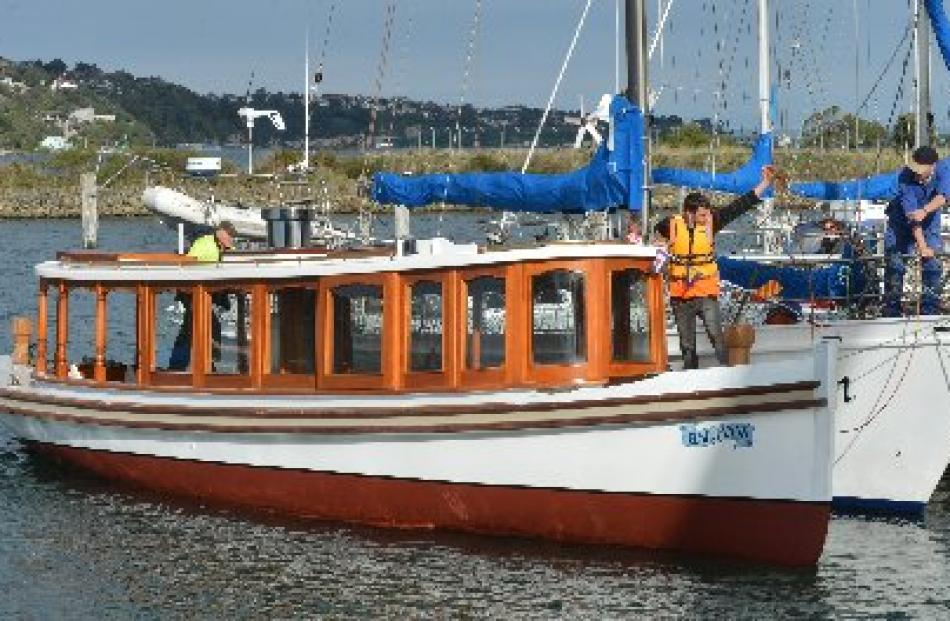 Elsie Evans shows off its classic lines yesterday, afloat again in Otago Harbour  for the first...