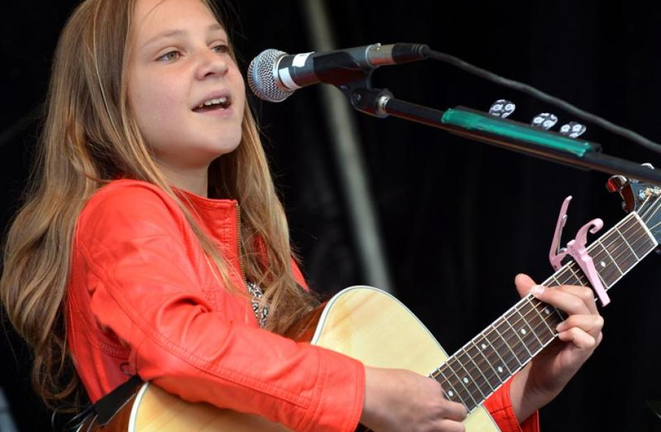Emily Hill (12), of Dunedin, performs at Party in the Park.