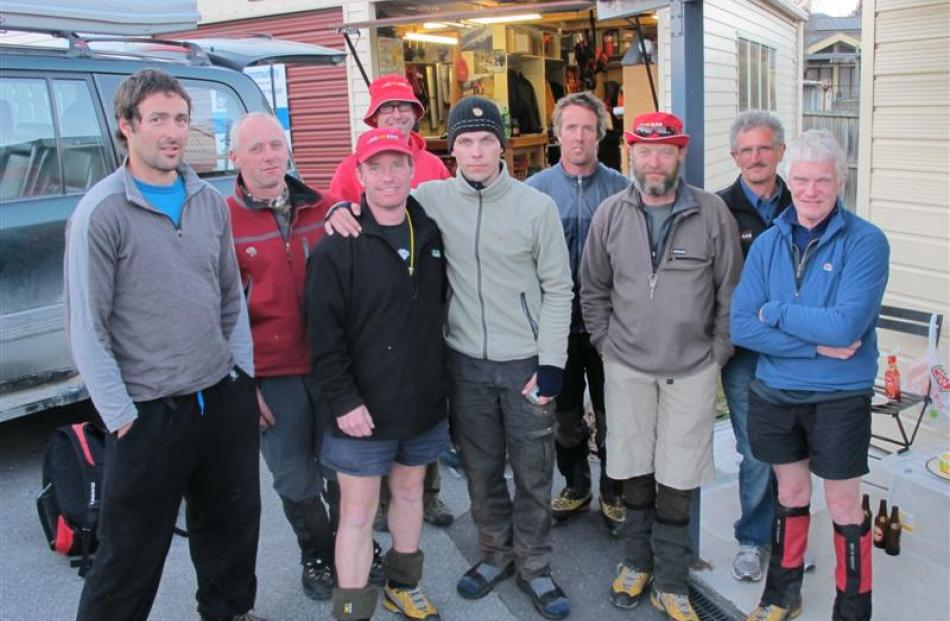 Estonian tramper Andre Lipand (26, centre) with the LandSAR Wanaka volunteers who rescued him...