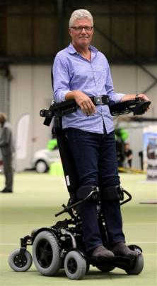 EuroMedical director Jaap Engels demonstrates a Levo C3 wheelchair at the ''Show Your Ability''...