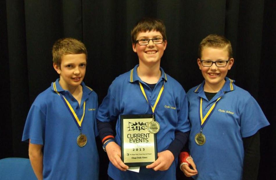 Extra! Current Events Quiz years 7 and 8 winners (from left) Ryan Shields, Jackson Collier  and...