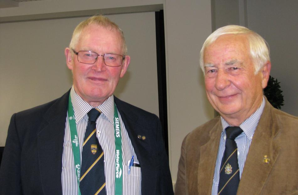 Farm business consultant and rural valuer Bob Engelbrecht (left), of Ashburton, and retired...