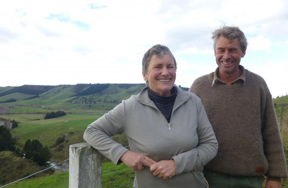 Farm foresters Jane and Peter Evans, who farm Alpine Farm, in the Pareora Gorge, are this year's...