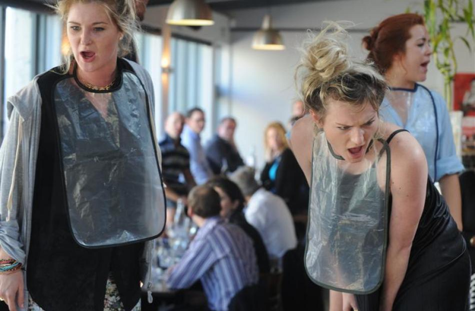 Faux Pas performers (from left) Shani Dickins, Sofia McIntyre and Natalie Clark forget their...