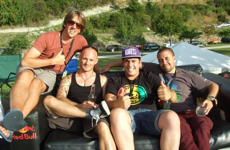 Festival performers Barrett Hocking, of the Black Seeds, Jeremy London, Henare Kaa and Tim Driver...