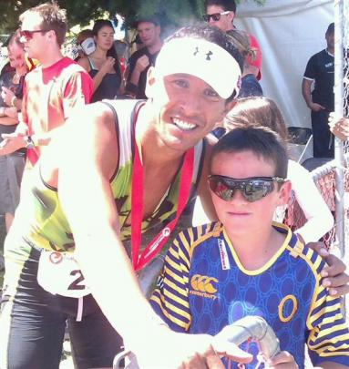 Finn McDonald-Page meets elite Australian triathlete Chris McCormack after Challenge Wanaka....