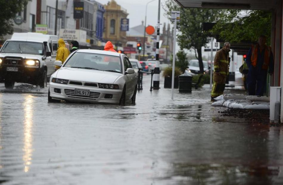 Flooding in Gordon Rd, Mosgiel, after heavy rain on November 17. Photo by Peter McIntosh.