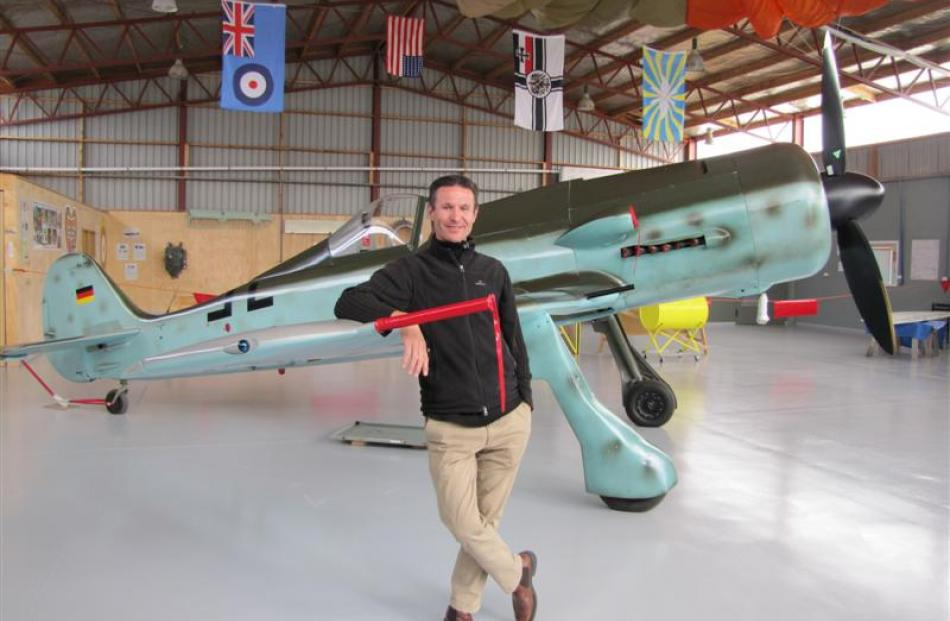 Focke-Wulf Museum founder Gilles Kupfer and his replica World War 2 fighter at Wanaka Airport....
