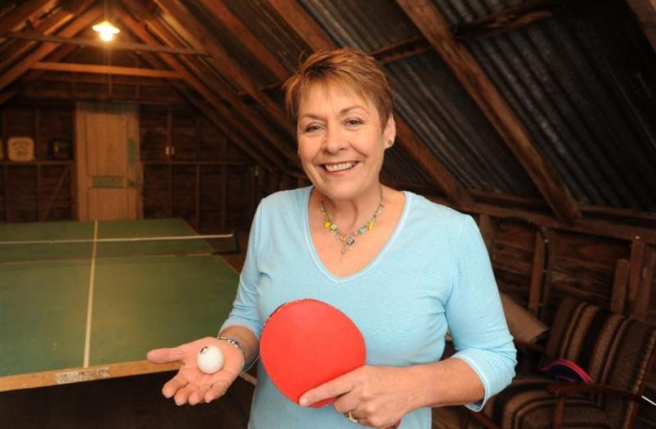 Fogarty in the table tennis room she created in a loft above a shed on her property. Photo by...