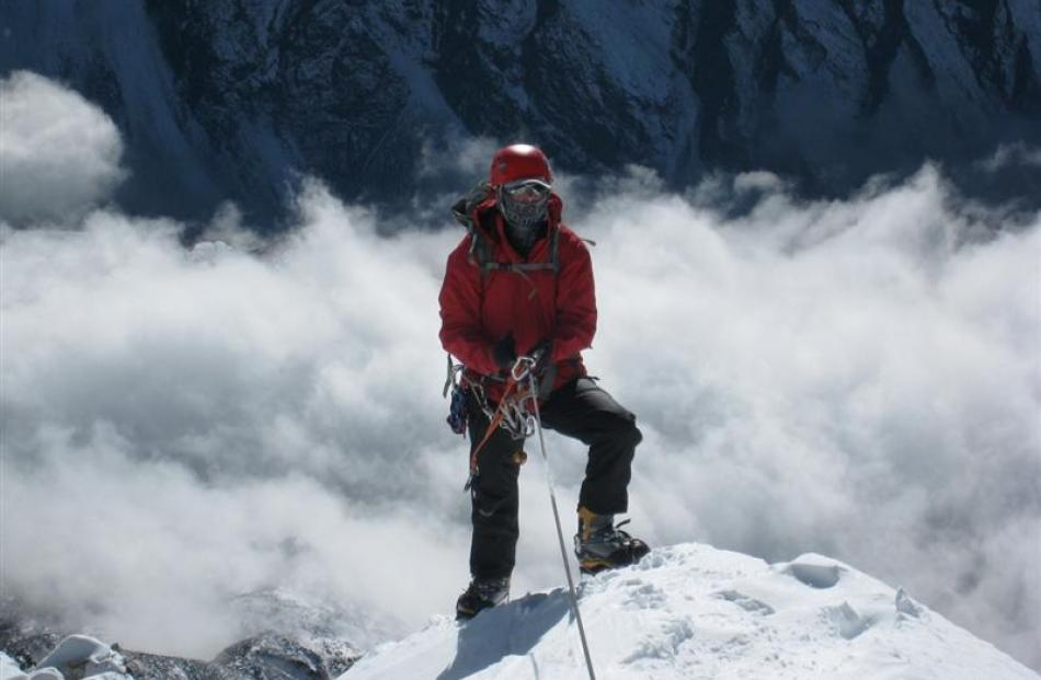 Former Dunedin resident Chris Jensen Burke scales Ama Dablam, which she says is a favourite of...