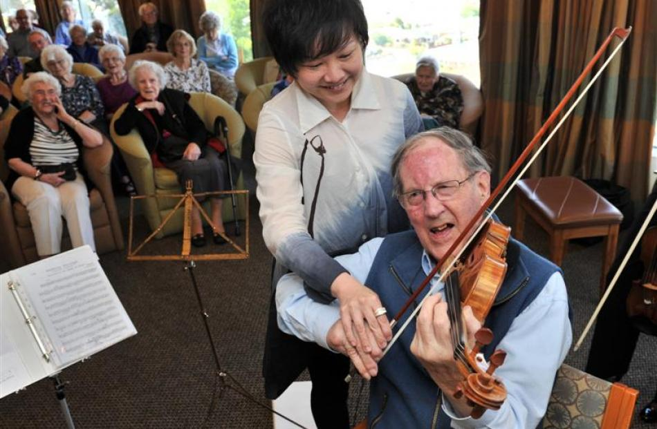 Frances Hodgkins Retirement Village resident George Bulleid gives New Zealand Symphony Orchestra...