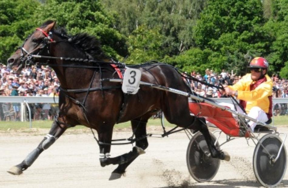 Franco Ledger, driven by Hamish Hunter, winning the $30,000 Central Otago Cup at Omakau in...