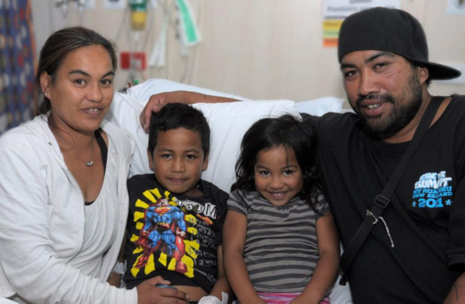 Frankie Royal-Hikatangata, 6, with his sister Swaye Royal-Hikatangata, 4, and his mum Vieanna...