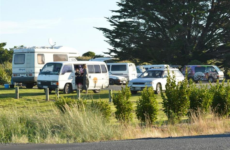 Freedom campers park  for the night at Ocean View about 6pm last Friday. Photo by Peter McIntosh.