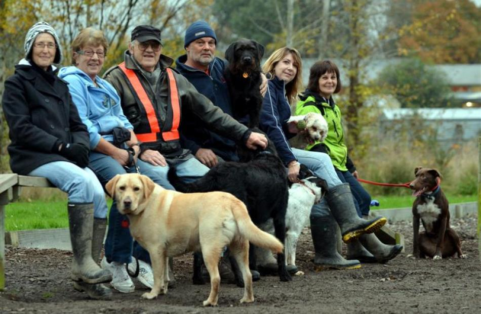 Friends of East Taieri Dog Park members (from left) Vicki Crowther, of Mosgiel, Carol Middleditch...