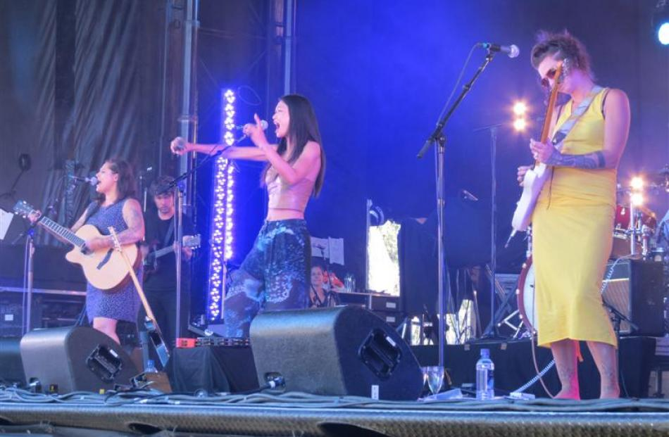 (From left) Anika Moa, Boh Runga and Hollie Smith delight the crowd with music from their new...