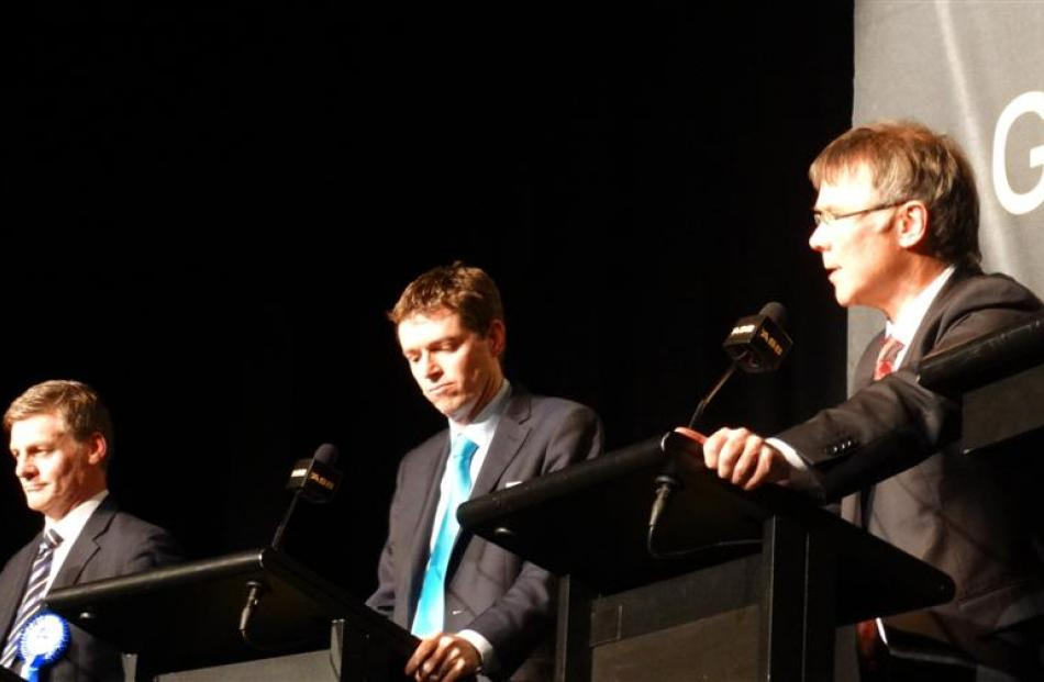 From left, Deputy Prime Minister Bill English, Conservative Party leader Colin Craig and Labour...