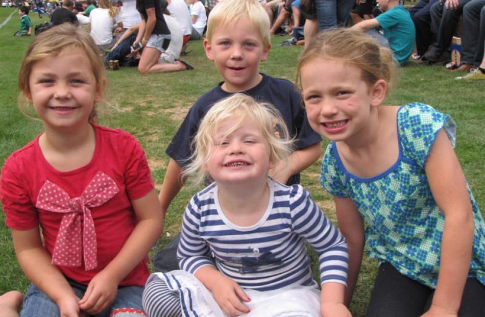 From left: Stella Cornelius (6), Molly Cornelius (3, front),  Archie Cornelius (6) and Gracie...