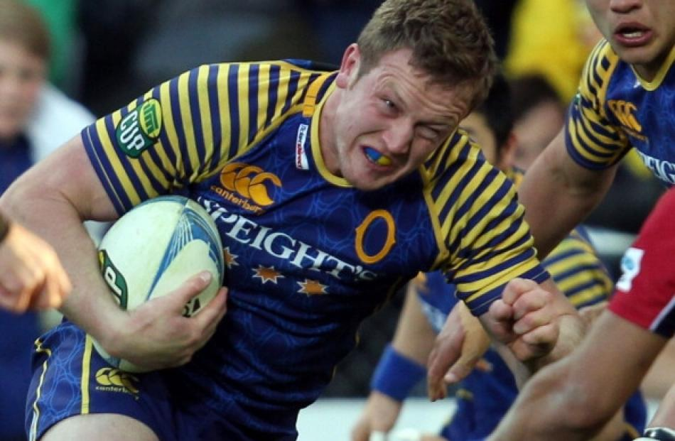 Gareth Evans of Otago on the charge during the ITM Cup Championship Semi Final match between...