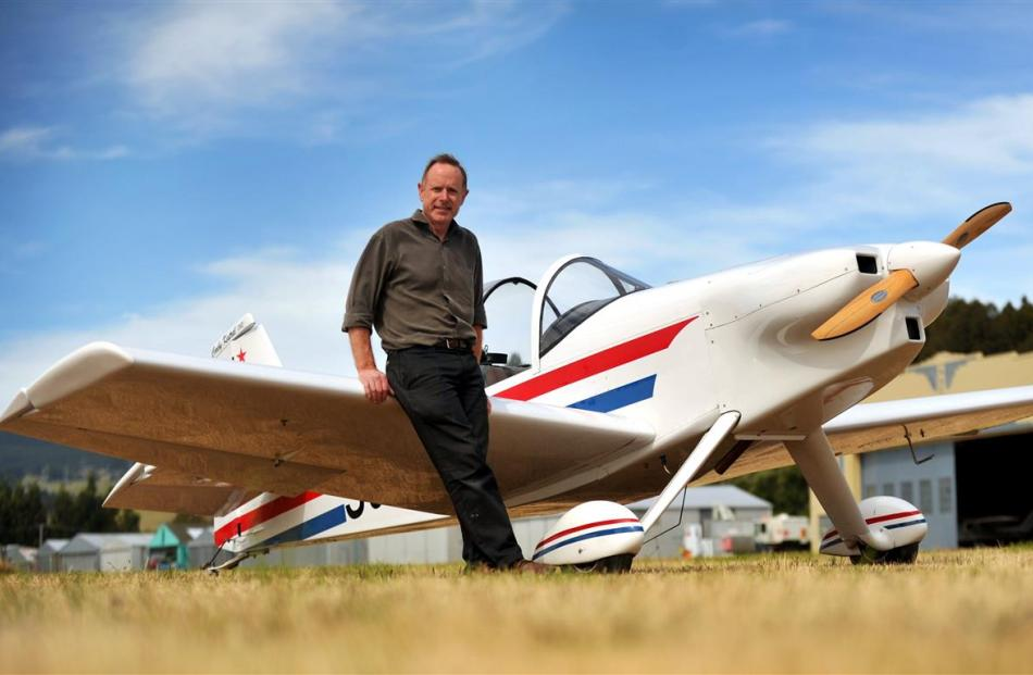Gary Montagu with his Corby Kestrel kitset aeroplane at the Taieri airfield. Photo by Christine O...