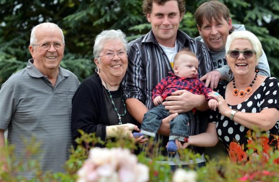 Geoff  (86) and Helen Hinds (86) with (from left),  great-grandson Damian McDermott (22), great...