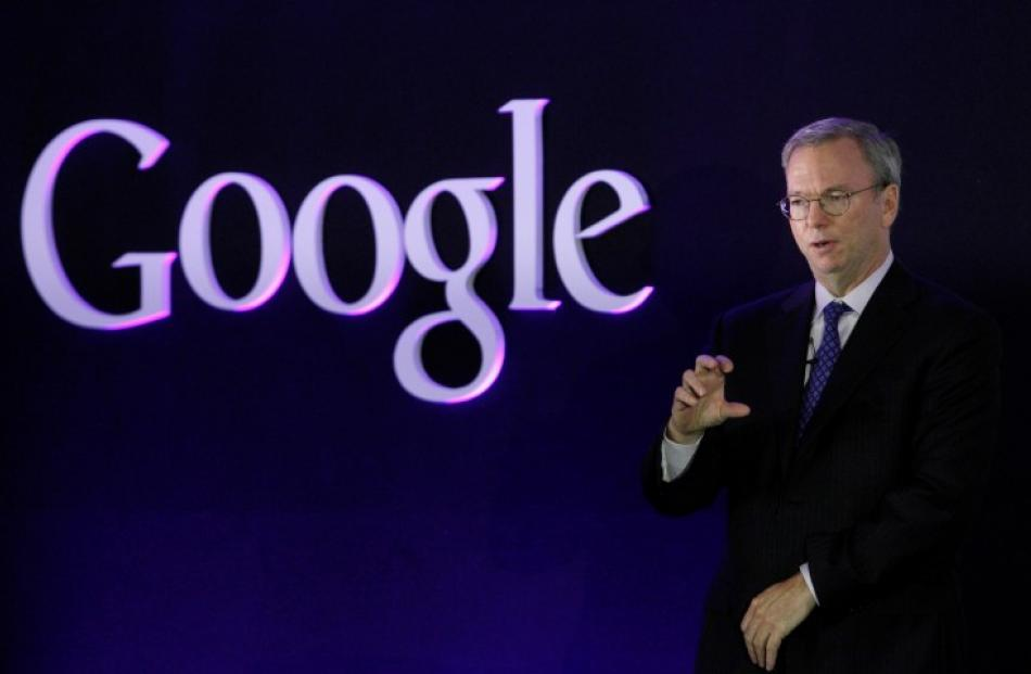 Google Executive Chairman Eric Schmidt speaks at a promotional event for the Nexus 7 tablet in...