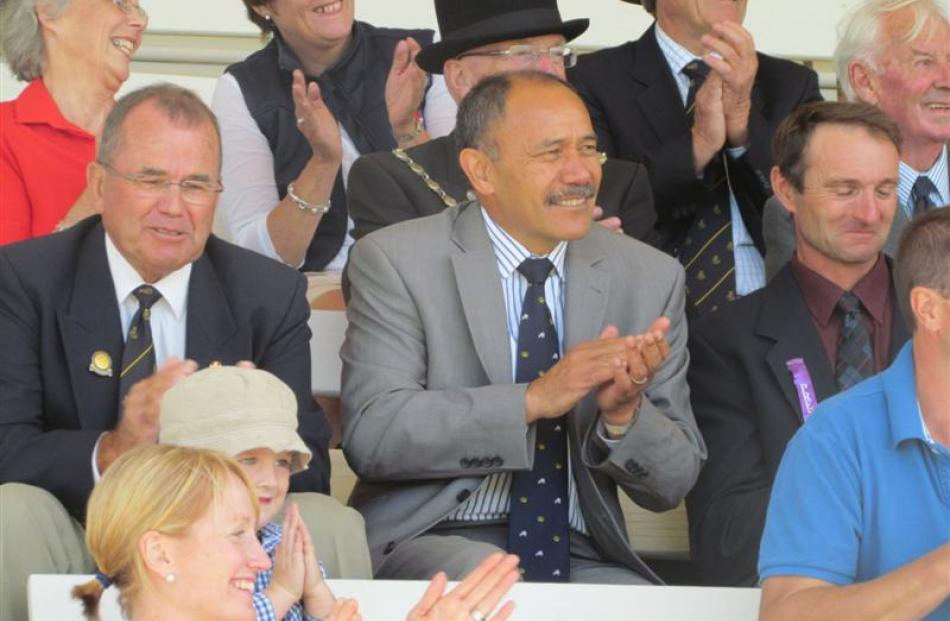 Governor-General Sir Jerry Mateparae enjoys a sing-a-long at the North Otago A&P Show.