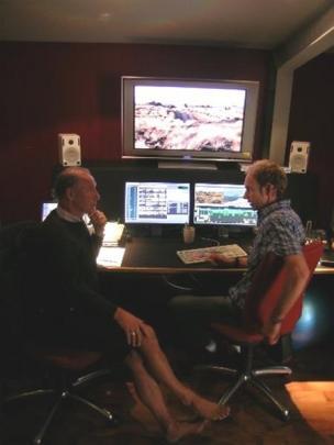 Grahame Sydney (left) and film editor Phil Hurring shape the film's final form. Photo Marjorie Cook.