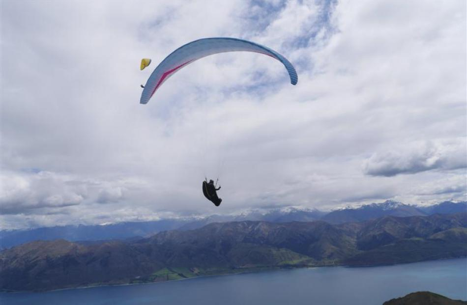 Grant Middendorf, of Lake Hawea, who has just secured his third national paragliding record, over...