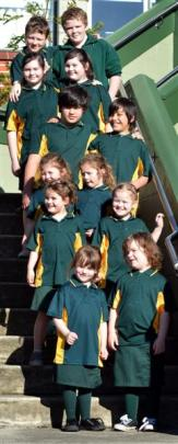 Green Island School twins (from left, front row) Paige and Piper Martin (5); (second row) Lucy...
