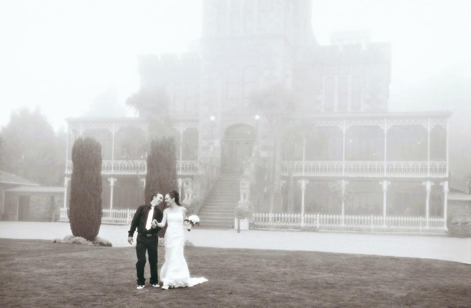 Gregg and Rebecca Dowling married at Larnach Castle last year. MCROBIE STUDIOS.