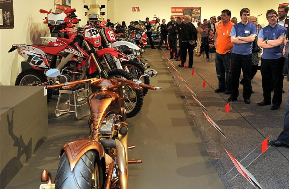 Guests and Otago Museum staff take a closer look at the many powerful machines before a big...