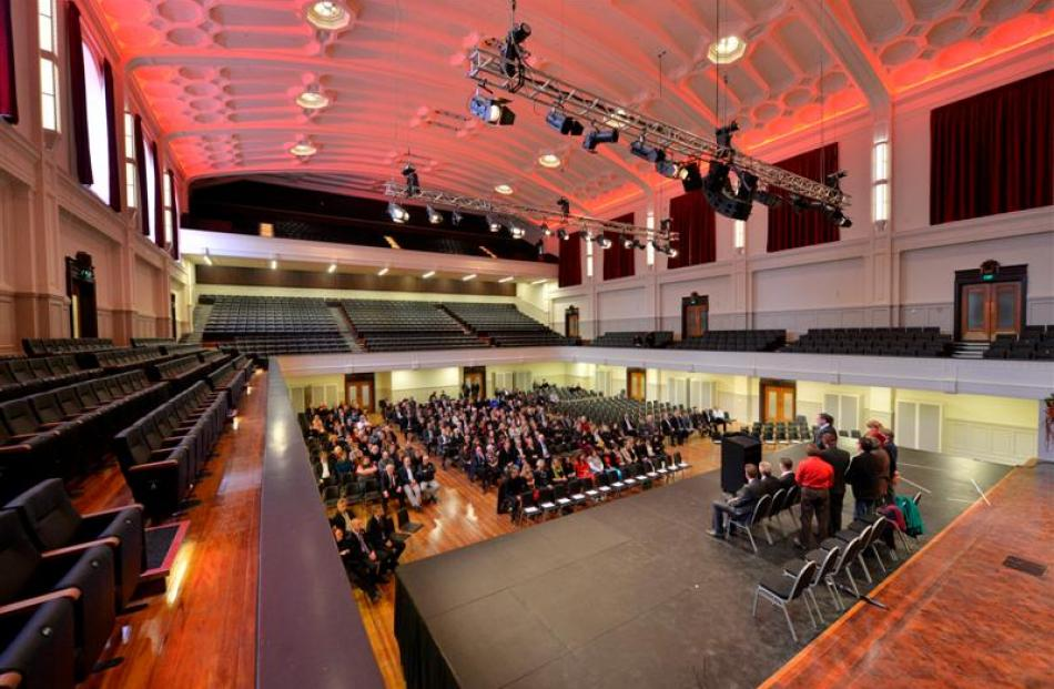 Guests attend a low-key ceremony to mark the reopening of Dunedin's refurbished town hall...