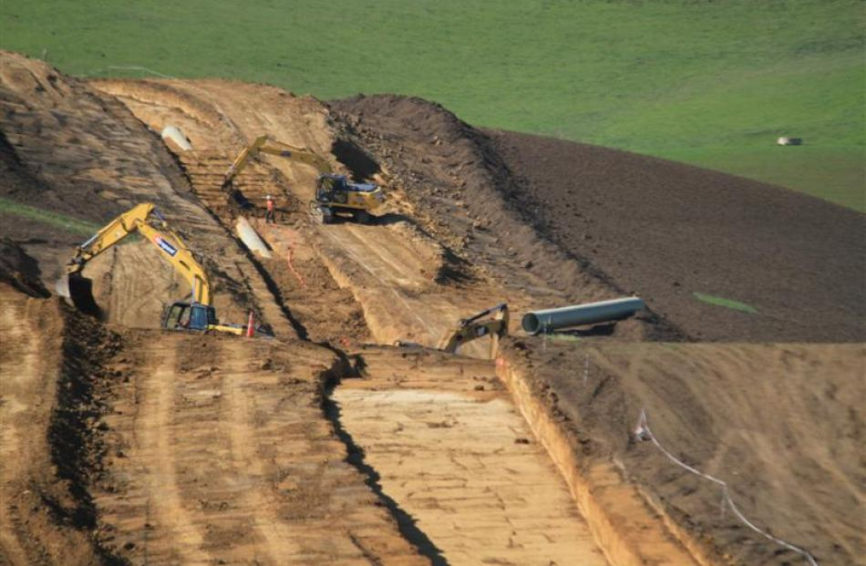 Heavy machinery works on stage 2 of the North Otago Irrigation Company's irrigation scheme  near ...