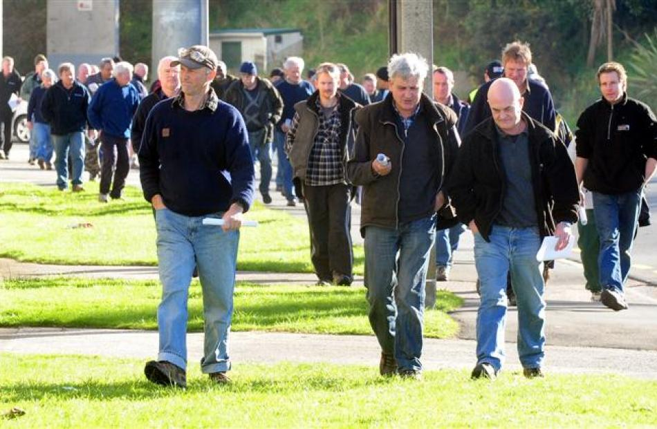 Hillside Engineering workers leave Carisbrook after meeting KiwiRail chiefs and learning 40 jobs...