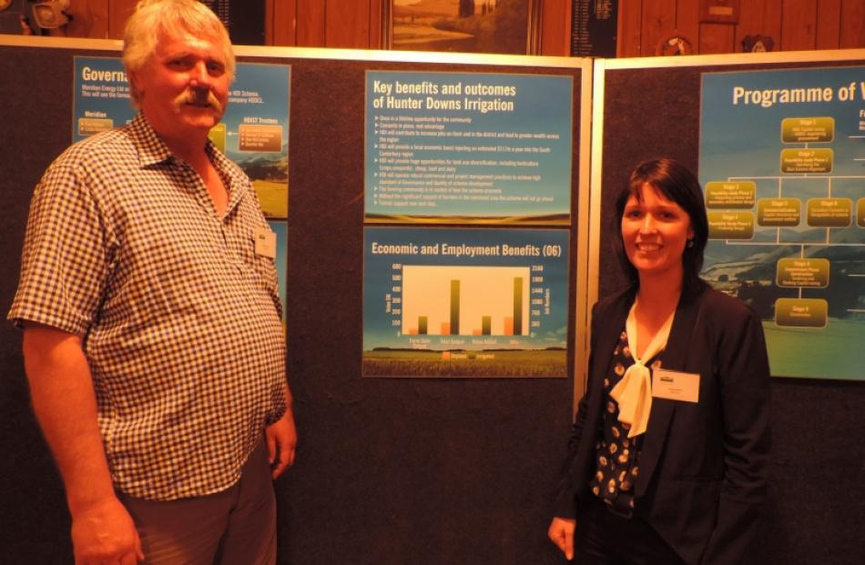 Hunter Downs Irrigation Ltd chairman Andrew Fraser and director Stacey Scott presented...