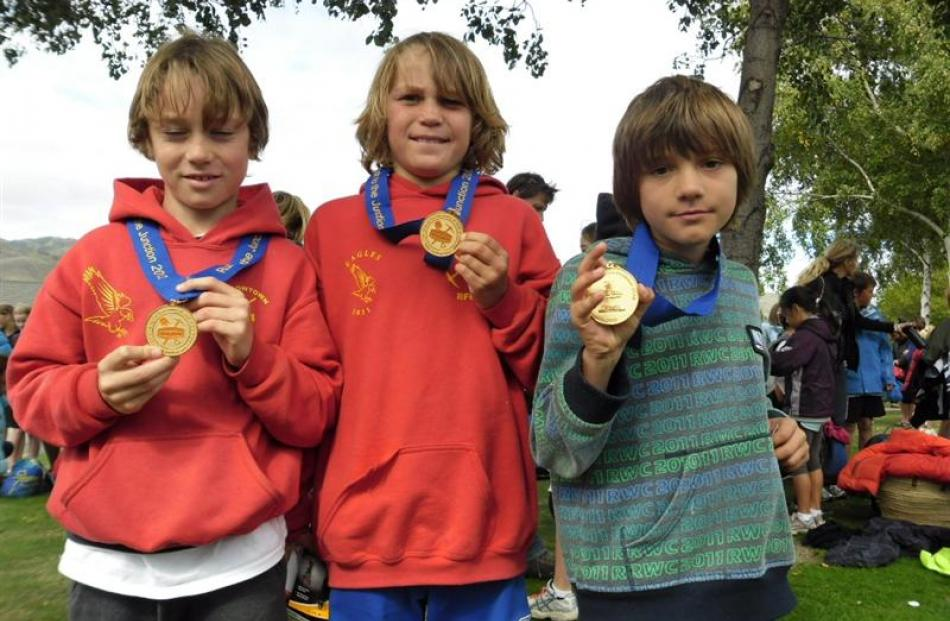Jayden Lapsely-Fowle, Levi Collins and Taine Wallace, Arrowtown School winners years 5 and 6 boys...