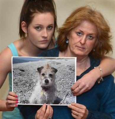 Jayne Bush (19) and her mother Debbie hold a treasured photo of their missing dog Ali, who  was...