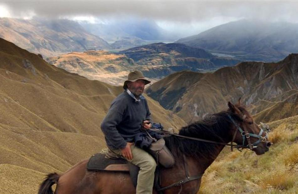 Jim Hore rests his horse near the top of Mt Alpha after a challenging climb from Glendhu Bay on...