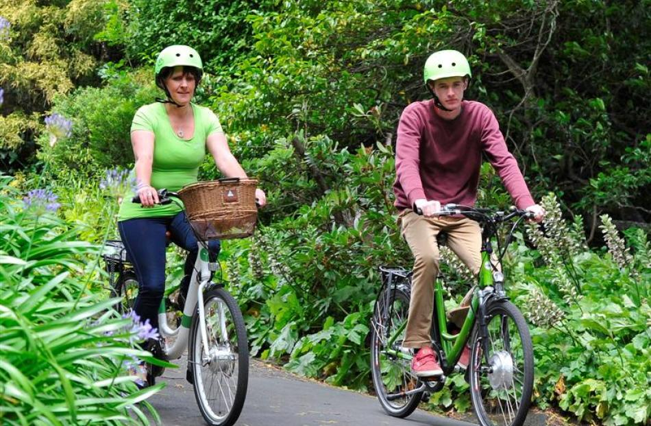Jo Severinsen and Jack Fraser test out the new hire bikes at Glenfalloch. Photo by Craig Baxter.