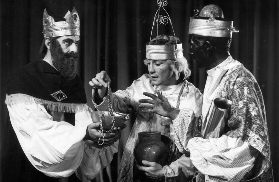 John Fisher, Don Madden and Bill Jenkinson in Otago Opera's second production of Amahl and the...