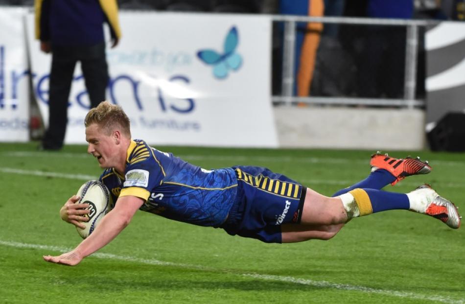 Josh Renton crosses the tryline in Otago match against Southland at Dunedin's Forsyth Barr...