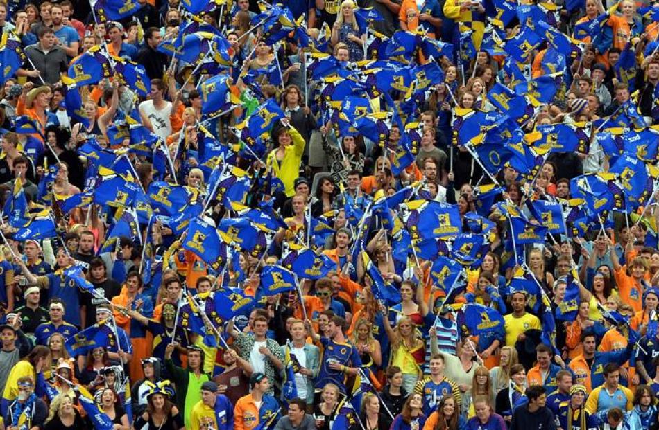 Jubilant Otago University students pack ''The Zoo'' at  Forsyth Barr Stadium on Saturday night...