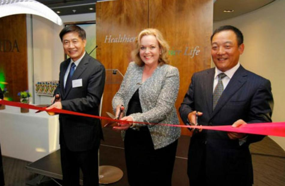 Justice Minister Judith Collins helps to open a new Oravida NZ office late last year. Photo...