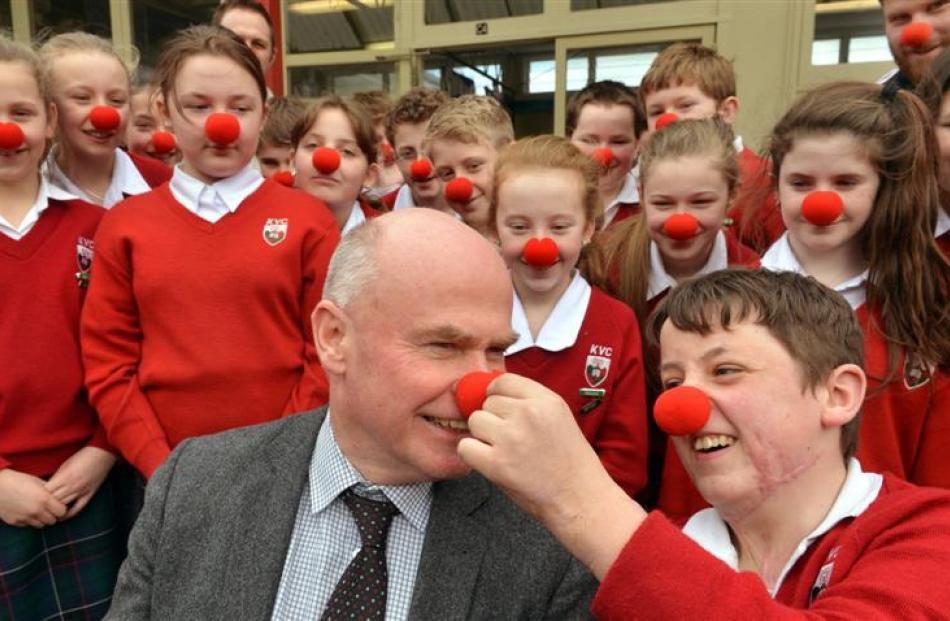 Kaikorai Valley College pupil Brayden Warnock-Hannon (right) celebrates Red Nose Day with deputy...