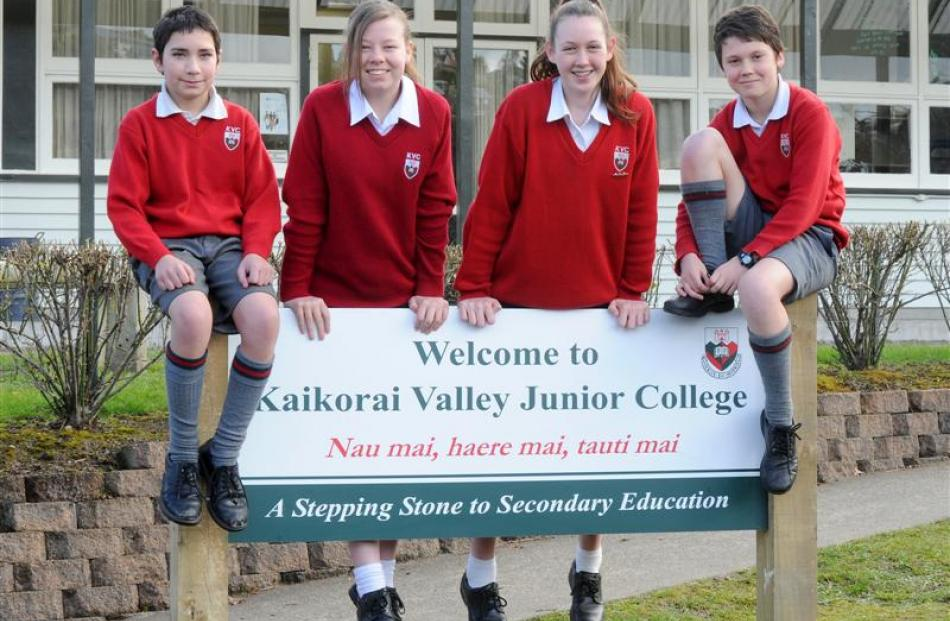 Kaikorai Valley Junior College pupils (from left) Harley Foster (11), Phoebe Fraser-Grant (12),...