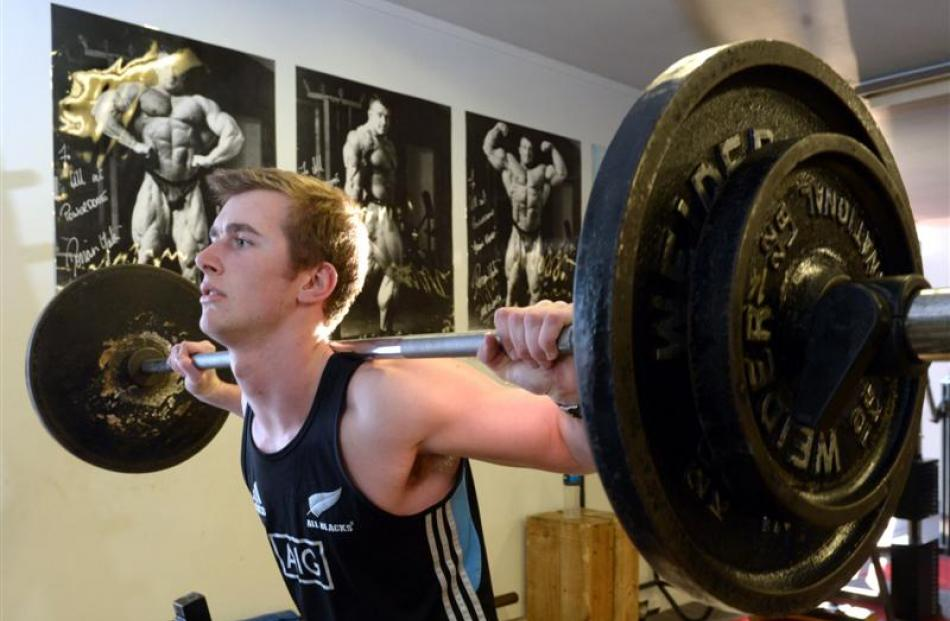 Kavanagh College pupil Matt Martin (17) trains at Sky Fitness Gym in Dunedin. Photo by Gerard O...