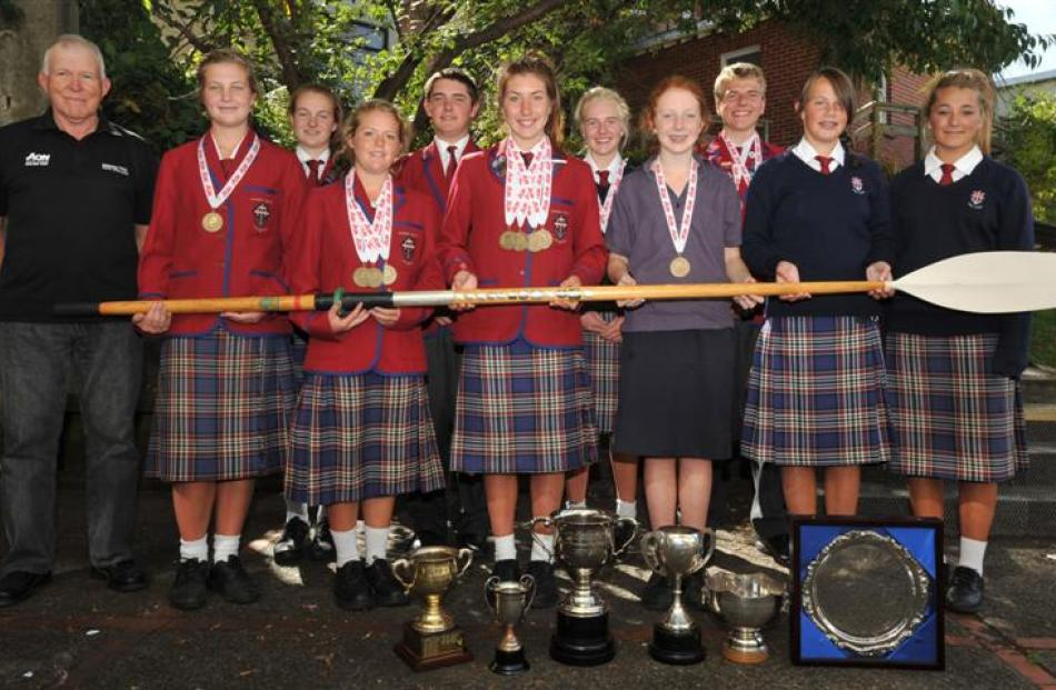 Kavanagh College rowers celebrate their success at the Maadi Cup. Kavanagh was the dominant Otago...
